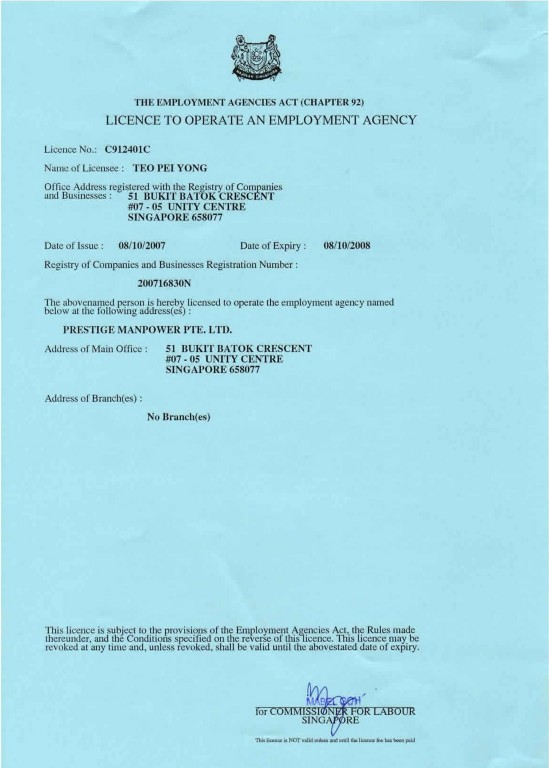 Employment Agency Licence issued by Ministry Of Manpower Singapore